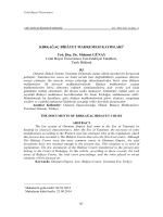 Yrd. Doç. Dr. Mehmet GÜNAY Kırkağaç Bidâyet Mahkemesi
