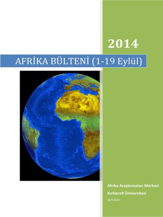AFRİKA BÜLTENİ (1-19 Eylül) - Afrika Araştırmaları Uygulama ve