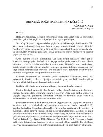 AĞABABA, Naile-ORTA ÇAĞ DOĞU HALKLARININ KÜLTÜRÜ