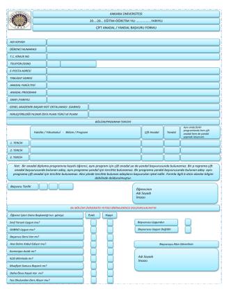 Çift anadal/Yandal Başvuru Formu - Öğrenci İşleri Daire Başkanlığı