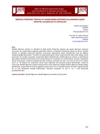 29.Koç Damgacı - Eğitim ve Öğretim Araştırmaları Dergisi