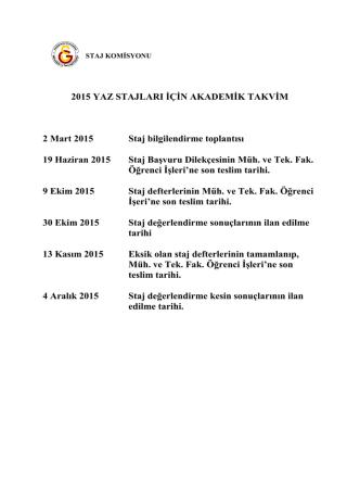 2015 Yılı Stajlar Akademik Takvimi