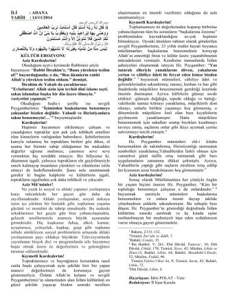 14/11/2014 KÜLTÜR EROZYONU Aziz Kardeşlerim!