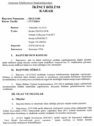 Anayasa Mahkemesinin 17/7/2014 Tarihli ve 2012