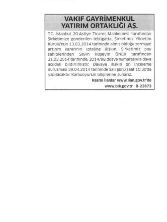 09 Nisan 2014 Star Gazetesinde Yayınlanan İlan
