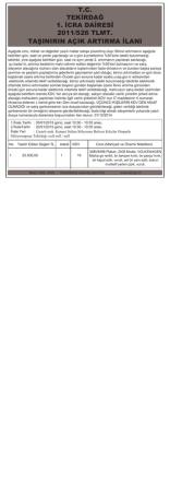 6 Aralık 2014 T.C. TEKİRDAĞ 1. İCRA DAİRESİ 2011/526 TLMT