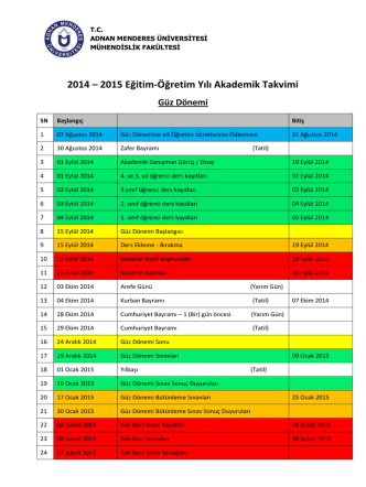 2014 – 2015 Eğitim-Öğretim Yılı Akademik Takvimi