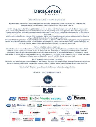 Basın Bülteni - Data Center Türkiye Konferansı