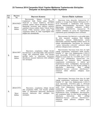 23 Temmuz 2014 Çarşamba Günü Yapılan Mahkeme Toplantısında
