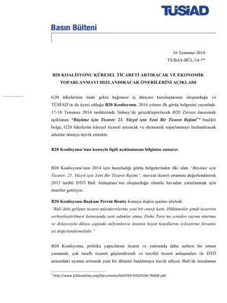 16 Temmuz 2014 TS/BAS-BÜL/14-** B20 KOALİSYONU