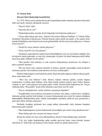 22. Osman Kılıç Diyanet İşleri Başkanlığı başmüfettişi Yıl 1979. Ekim