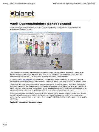 Biamag :: Vanlı Depremzedelere Sanat Terapisi