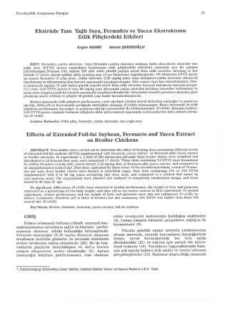 Cilt 2 Sayi 2 Makale 7 Ekstrüde Tam Yağlı Soya, Fermakto ve Yucca