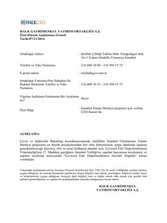 07.11.2014 İstanbul Finans Merkezi Projemiz İçin Verilen ÇED