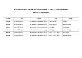 2014-2015 Öğretim Yılı 10., 11. ve 12 Sınıflar için Seçmeli Dersler