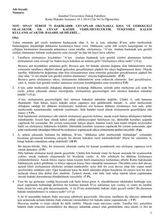 16.1.2014 Tarihinde Yapılan Roma Hukuku Dersi Arasınavı (Tek No