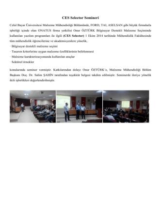 CES Selector Semineri - Celal Bayar Üniversitesi