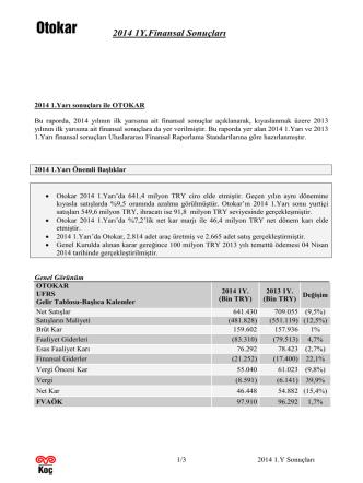 2014 1Y Sonuçları