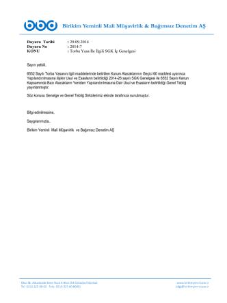 6552 sayılı Torba Yasa İle İlgili Maliye Bakanlığı ve SGK