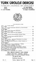 TÜRK ÜROLOJİ DERGİSİ - Turkish Journal of Urology