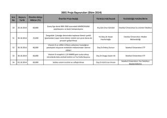 3001 Proje Başvuruları (Ekim 2014)
