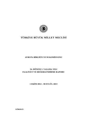 AB Uyum Komisyonu 24. Dönem 3. Yasama Yılı Faaliyet ve