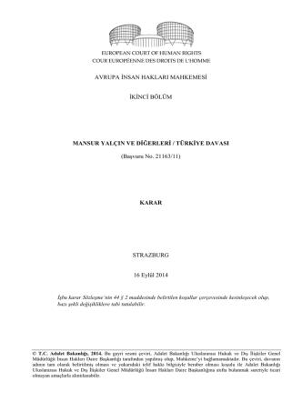 16 Eylül 2014 tarihli Mansur Yalçın ve diğerleri v. Türkiye Kararı