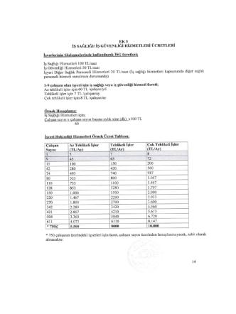 a) Aylık İşyeri Hekimliği Fiyat Listesi