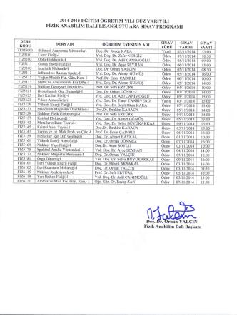 2014-2015 eğitim öğretim yılı güz yarıyılı