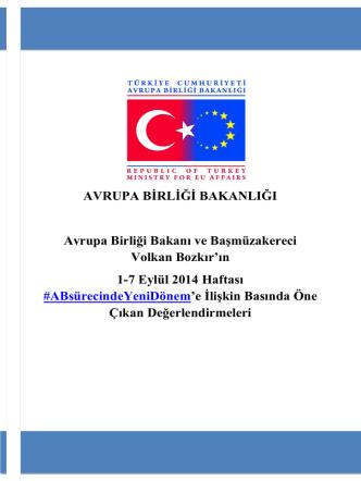 Avrupa Birliği Bakanı ve Başmüzakereci Volkan Bozkır