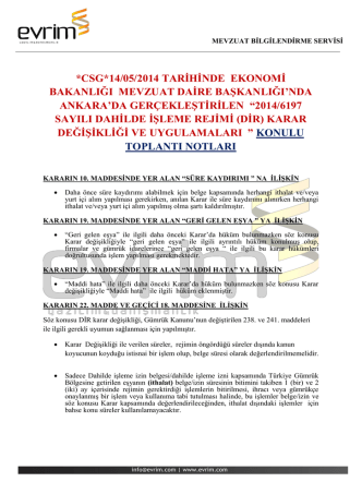 *CSG*14/05/2014 TARİHİNDE EKONOMİ BAKANLIĞI MEVZUAT