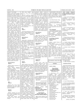 2013 yılı genel kurulun ilanına ilişkin ticaret sicil gazetesi