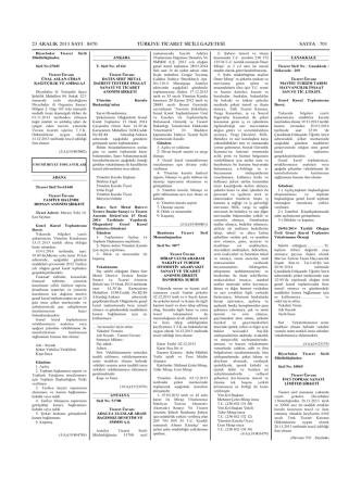 23 aralık 2013 sayı 2 8470 türkiye ticaret sıcılı gazetesi sayfa 2 701