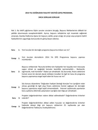 2014 YILI DOĞRUDAN FAALIYET DESTEĞI (DFD) PROGRAMI