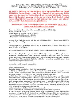 08.09.2014 Tarihinde yayımlanan Devlet Hava Meydanları İşletmesi