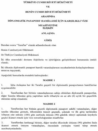 BENİN cUMHURİYETİ HÜKÜMETİ ARASINDA