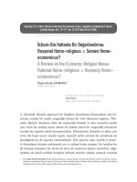 İktisat-Din Hattında Bir Değerlendirme: Rasyonel
