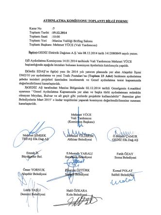 Aydınlatma Komisyon Kararları Aralık 2014 İçin Tıklayınız