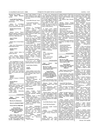 8588 türkiye ticaret sicili gazetesi sayfa : 1135