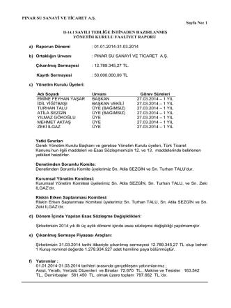 2014-3 Aylık Ara Dönem Yasal Faaliyet Raporu