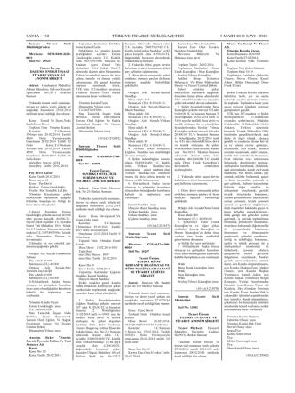 05.03.2014 Yönetim Kurul Kararı Sayı 8521 Sayfa 152