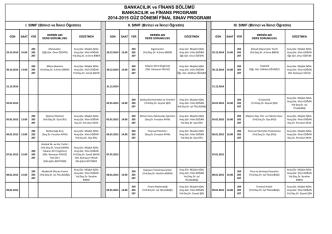 2014-2015 güz dönemi final sınav programı