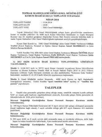 15.04.2014 tarihli kurum idari kurulu kararı