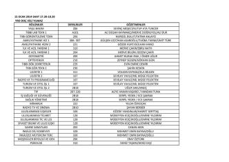 15 ocak 2014 saat 17.30-18.20 yrd doç veli yılmaz bölümler