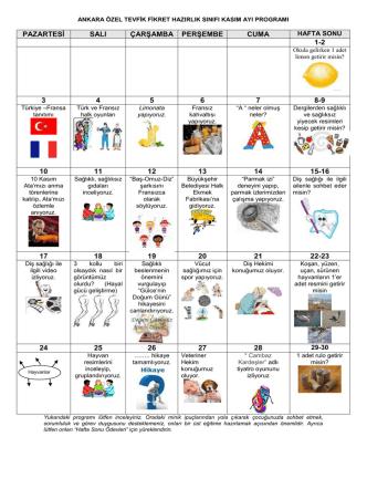 ankara özel tevfik fikret anaokulu ekim 2007 programı