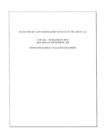 2014 YK Faaliyet Raporu - 2. Çeyrek