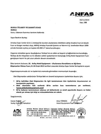 10.11.2014 Anfaş Otel Ekipmanları Fuarı