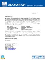 01.10.2014 Değerli Müşterimiz, MAYASAN A.Ş. Süt Endüstrisine 44