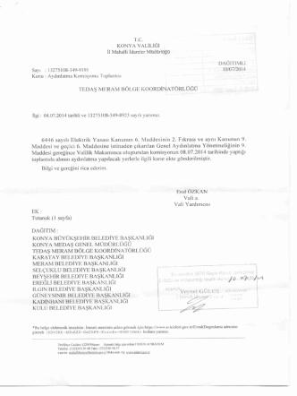 08.07.2014 Konya İli aydınlatma Komisyon Kararı