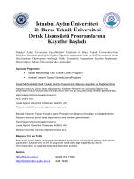 İstanbul Aydın Üniversitesi ile Bursa Teknik Üniversitesi Ortak